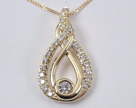 "Diamond Love Knot Pendant Yellow Gold Wedding Necklace Chain 18"" Adjustable"