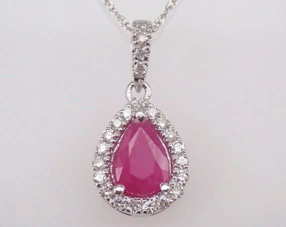 "14K White Gold Diamond and Ruby Halo Pendant Necklace 18"" Chain July Birthstone"