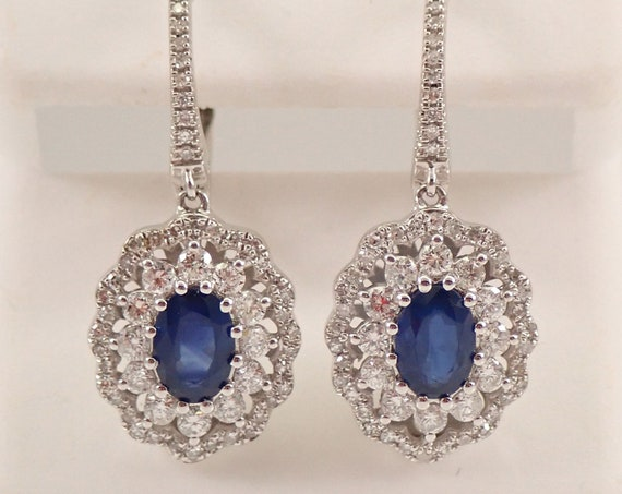 14K White Gold 2.58 ct Sapphire and Diamond Halo Drop Dangle Earrings MUST SEE