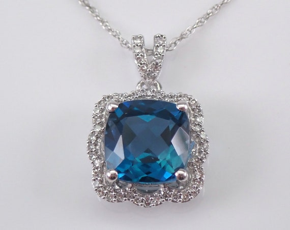 "Diamond and Cushion Cut London Blue Topaz Halo Pendant Necklace White Gold 18"" Chain"