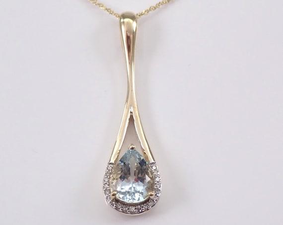 "Aquamarine and Diamond Drop Pendant Necklace Yellow Gold 18"" Chain Pear Aqua"