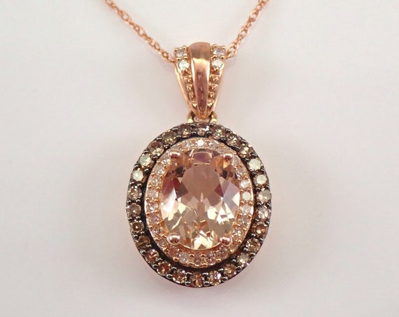 "2.50 ct Cognac Diamond and Morganite Halo Pendant Necklace Rose Gold 18"" Chain"
