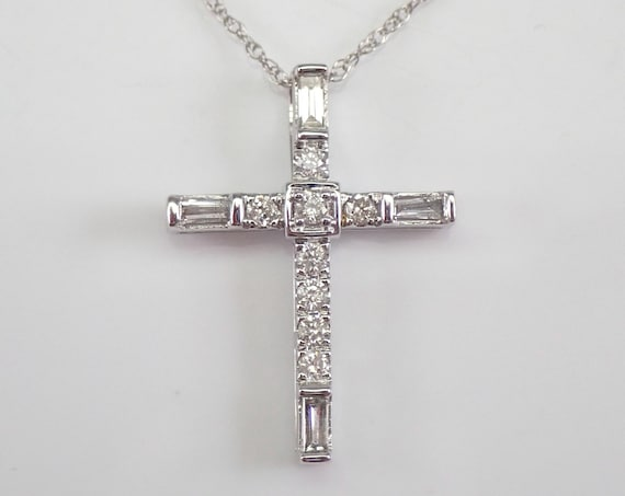 "White Gold Diamond CROSS Pendant Necklace Religious Charm 18"" Chain"
