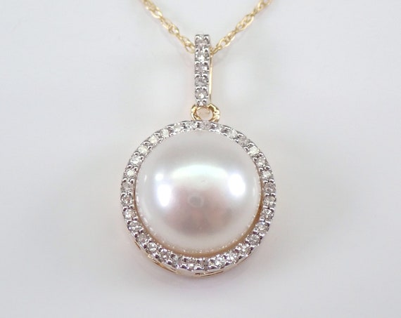 "14K Yellow Gold Diamond and Pearl Halo Pendant Necklace Chain 18"" June Gemstone"