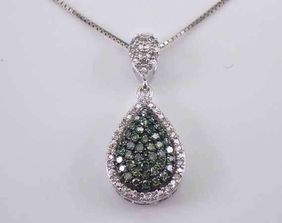 "Fancy Green and White Diamond Halo Cluster Pendant Teardrop Necklace 18"" Gold Chain"