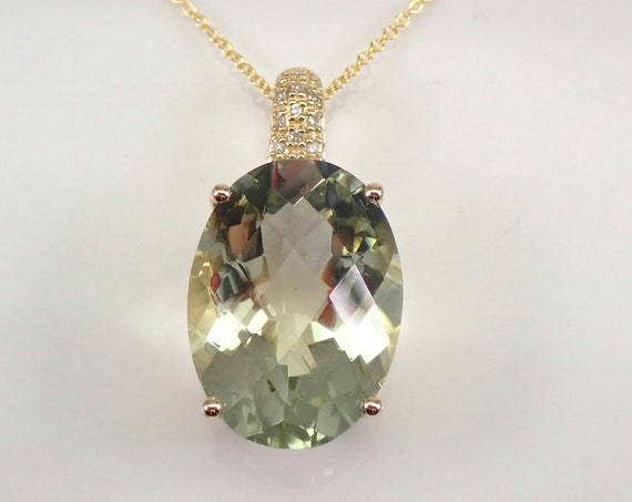 """12.65 ct Diamond and Green Amethyst Pendant Necklace 14K Yellow Gold 18"""" Chain"""