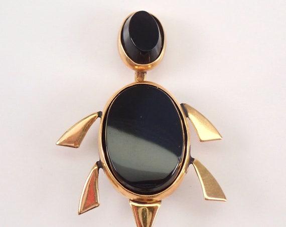 Antique Vintage Estate 14K Yellow Gold Black Onyx TURTLE Brooch Pin