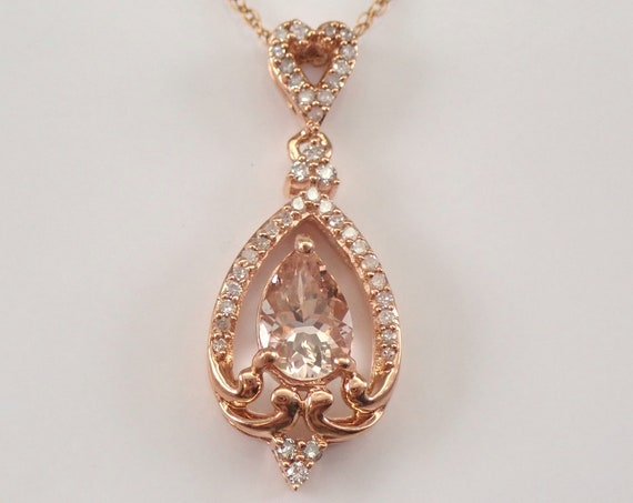 "Morganite and Diamond Teardrop Dangle Pendant Heart Necklace 18"" Chain Rose Gold"