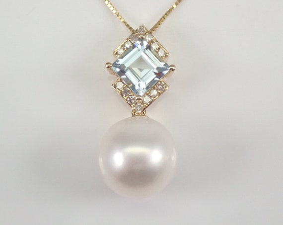 "14K Yellow Gold Diamond Pearl and Aquamarine Pendant Necklace Chain 18"" June March Gemstone"