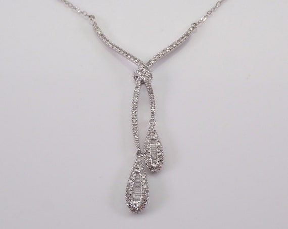 "Diamond Cluster Lariat Drop Necklace 14K White Gold Chain 17"" Wedding Pendant Gift"