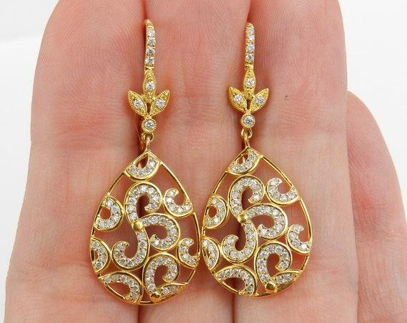 14K Yellow Gold Diamond Dangle Drop Earrings Wedding Gift Unique Leverback Clasps