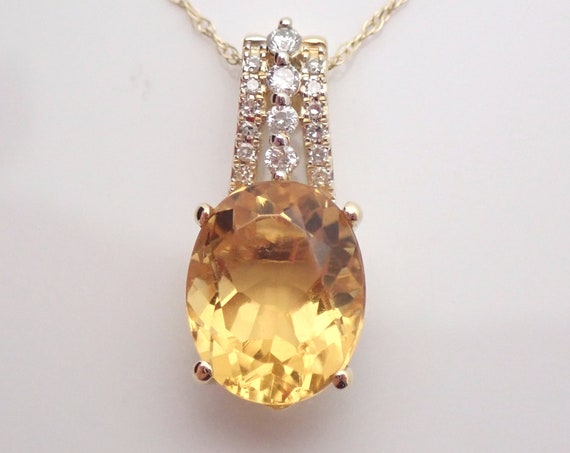 "Yellow Gold 2.15 ct Citrine and Diamond Drop Pendant Necklace 18"" Chain November Gemstone"