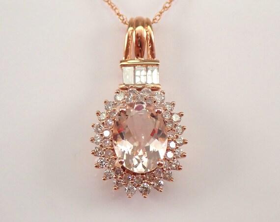 """2.50 ct Morganite and Diamond Pendant Unique Necklace Rose Gold 18"""" Chain"""
