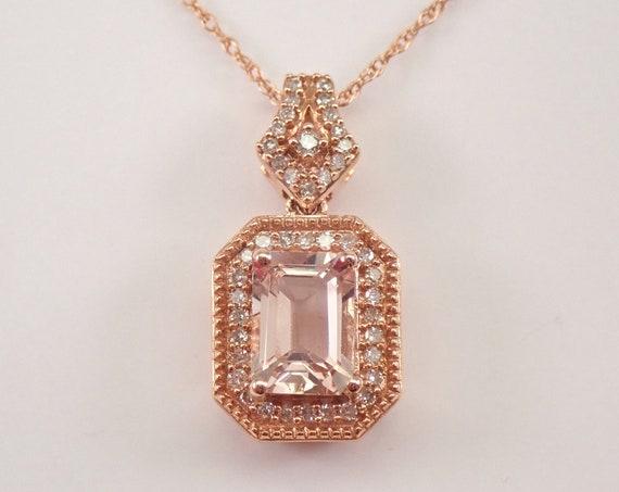 """Emerald Cut Morganite and Diamond Halo Pendant Necklace Rose Gold 18"""" Chain"""