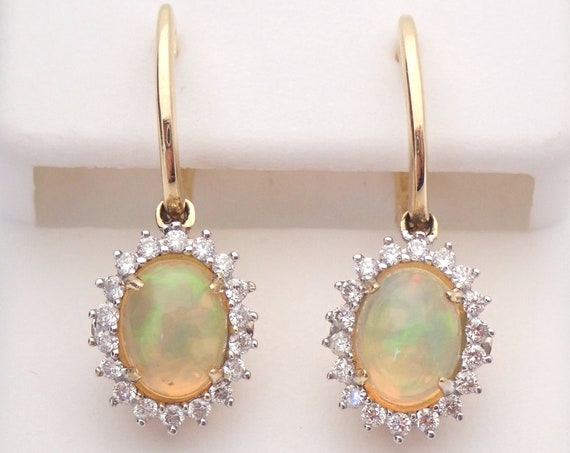 14K Yellow Gold Opal and Diamond Halo Dangle Drop Earrings October Gemstone