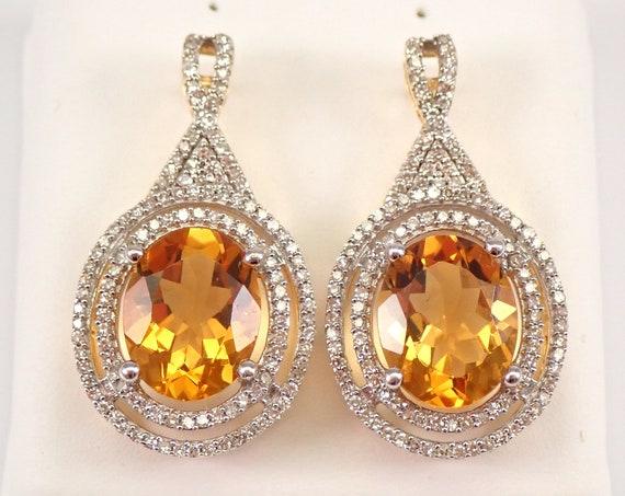 5.47 ct Citrine and Diamond Halo Earrings 14K Yellow Gold November Birthstone