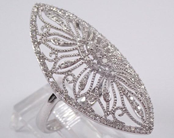 Vintage Style 14K White Gold Diamond Cocktail Cluster Ring Size 7 Antique Design
