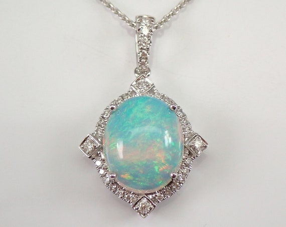 "14K White Gold 3.55 ct Diamond and Opal Halo Pendant Necklace 18"" Chain October Birthstone"