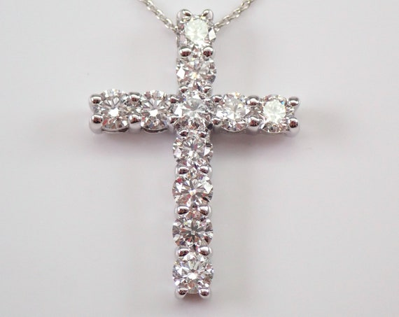 "14K White Gold 2.26 ct Diamond CROSS Pendant Necklace, Religious Jewelry Charm 18"" Chain"