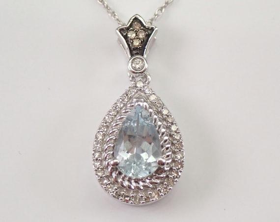 "Aquamarine and Diamond Halo Pendant White Gold Necklace 18"" Chain March Gemstone"