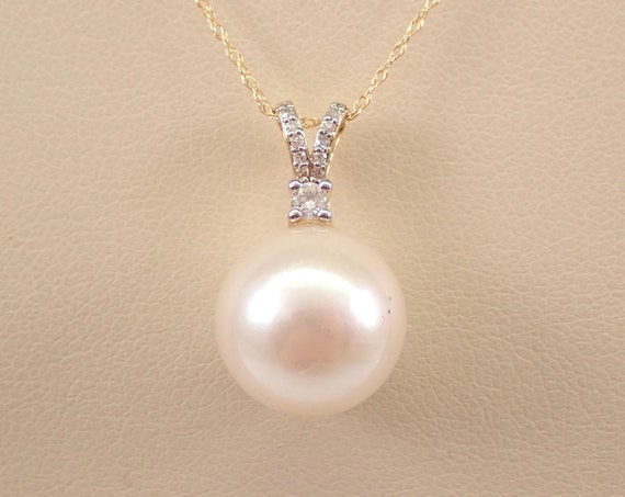 """14K Yellow Gold Diamond and 12.2 mm Pearl Pendant Necklace Chain 18"""" June Gemstone"""