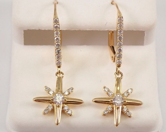 Yellow Gold Diamond Dangle North Star Starburst Celestial Earrings Leverback
