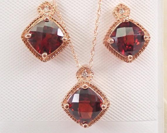"Rose Gold Diamond and Garnet Pendant Necklace Earrings Set 18"" Chain January Birthstone"