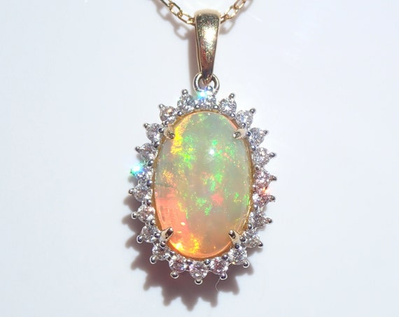 """14K Yellow Gold Diamond and Opal Halo Pendant Necklace 18"""" Chain October Gem"""