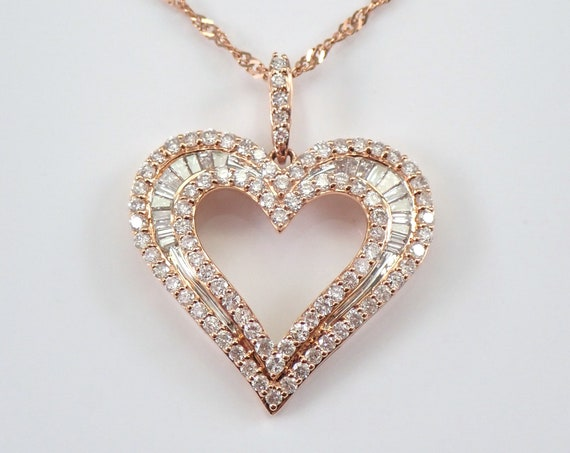 "Rose Gold 1.00 ct Diamond Heart Pendant Necklace 18"" Chain Graduation Wedding Gift Present"