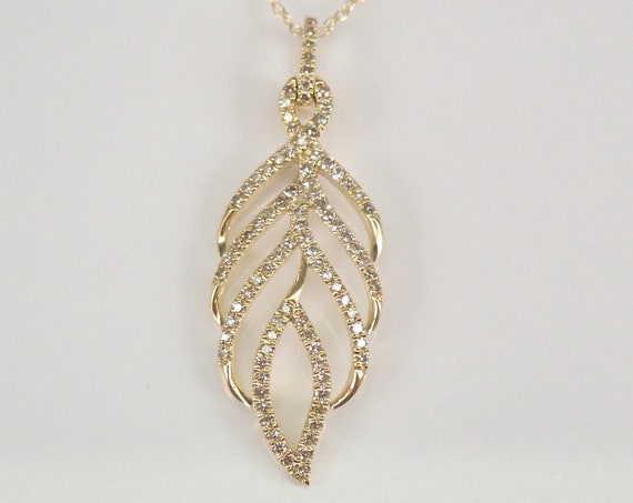 """Diamond Feather Necklace Cluster Pendant 14K Yellow Gold 18"""" Chain Leaf Autumn"""