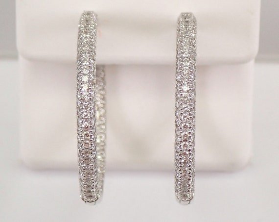 14K White Gold 1.75 ct Diamond Hoop Earrings Diamond Hoops In and Out Pave Set