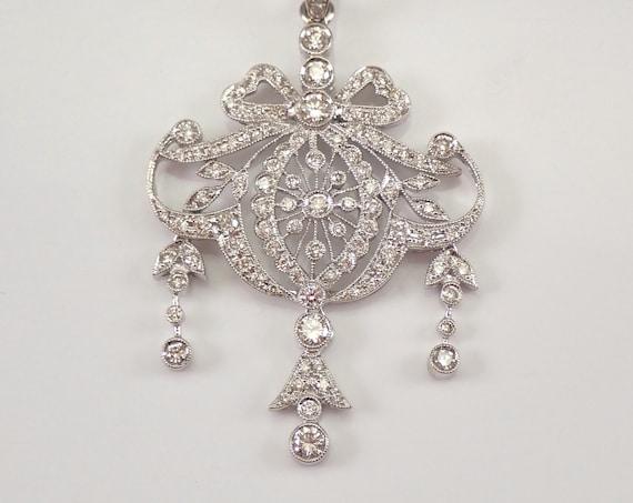 """Antique Vintage Style 18K White Gold 1.73 ct Diamond Drop Pendant Necklace 18"""" Chain"""
