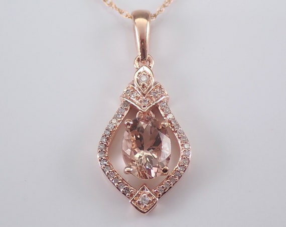 "Morganite and Diamond Drop Pendant Necklace 18"" Chain Rose Pink Gold Wedding Gift"