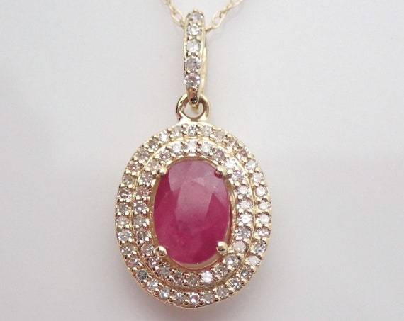 "Diamond and Ruby Double Halo Pendant Necklace Yellow Gold 18"" Chain July Gem Birthstone"