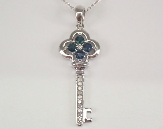 """White Gold Sapphire and Diamond KEY Pendant Necklace Charm 18"""" Chain"""