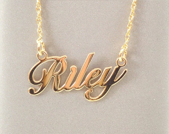 "14K White Yellow Rose Pink Gold Script Name Nameplate  Necklace 16"" or 18"" Chain Personalized"