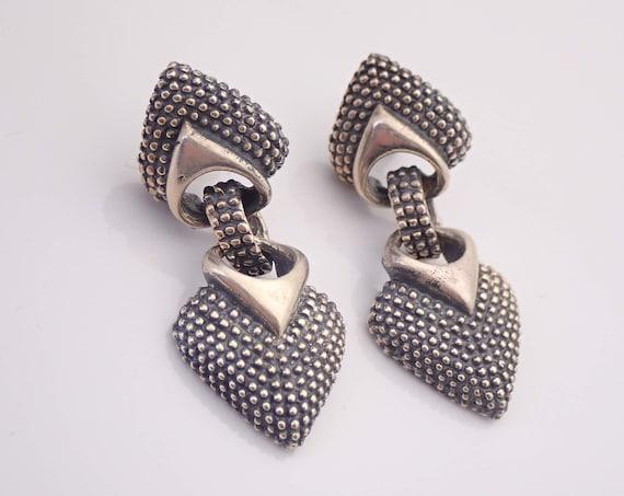 Vintage Sterling Silver Heart Dangle Earrings