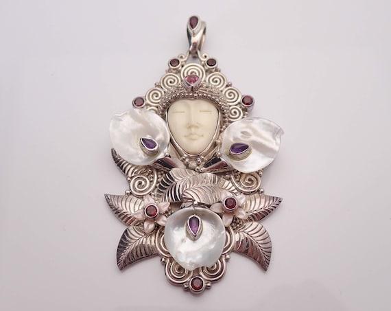 Vintage Sajen Mother of Pearl Garnet Amethyst Goddess Pendant