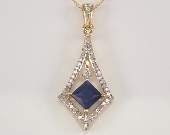 "Square Sapphire and Diamond Necklace Pendant 14K Yellow Gold 18"" Chain Wedding September Birthstone"