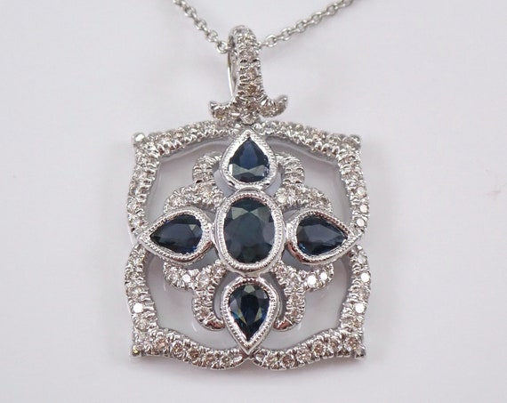 """1.63 ct Diamond and Sapphire Cluster Pendant 14K White Gold Necklace 18"""" Chain"""