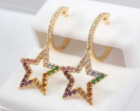 18K Yellow Gold Diamond and Multi Color Sapphire STAR Dangle Earrings Unique Design MUST SEE