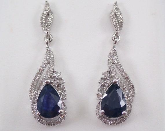 Pear Sapphire and Diamond Drop Dangle Earrings White Gold September Birthstone