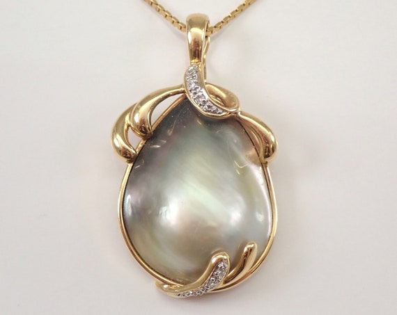 """14K Yellow Gold Mabe Gray Pearl and Diamond Enhancer Pendant Vintage Necklace 18"""" Chain"""