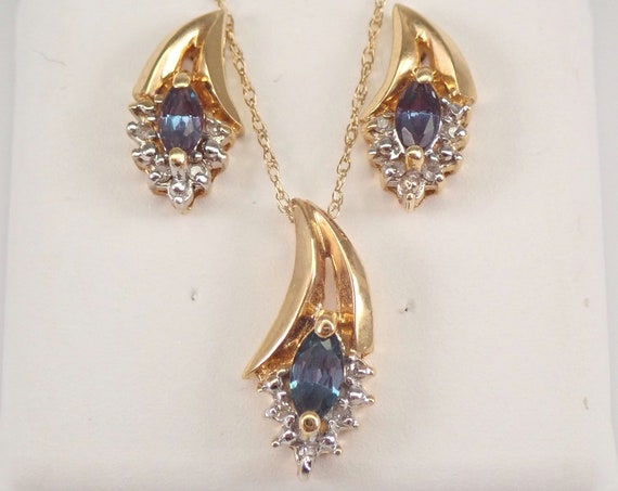 """Estate Vintage 14K Yellow Gold Diamond and Lab Alexandrite Pendant Necklace Earrings Set 18"""" Chain"""
