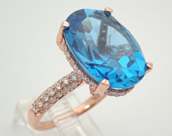 13 carat Oval Blue Topaz and Diamond Engagement Ring 14K Rose Gold Size 7.25