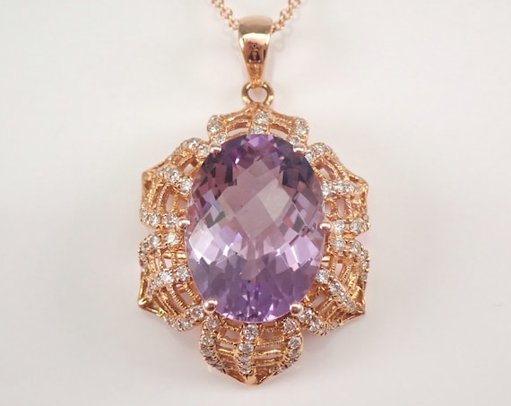 """14K Rose Gold 7.39 ct Amethyst and Diamond Necklace Pendant 18"""" Chain February Gemstone"""