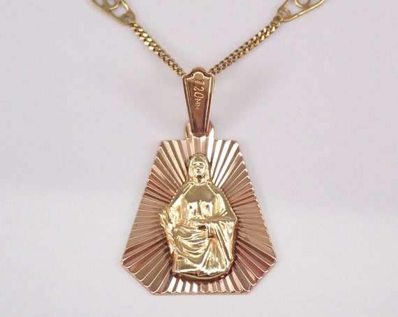 "Vintage 18K Yellow Gold Virgin Mary Pendant Necklace Religious Metal Charm 18"" Infinity Chain"