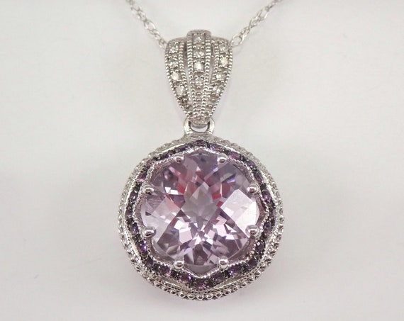 """3.90 ct Amethyst and Diamond Halo Pendant Necklace White Gold 18"""" Chain February Birthstone"""