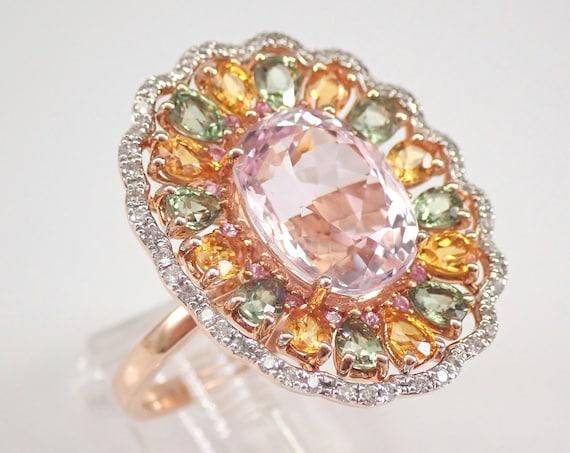 14K Rose Gold 11.25 ct Kunzite Multi Color Sapphire Diamond Engagement Ring Size 7 FREE Sizing