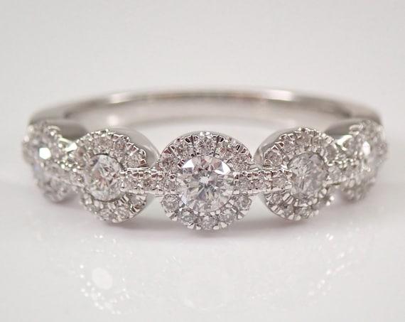 Diamond Halo Wedding Ring Anniversary Band 14K White Gold Size 7 FREE SIZING